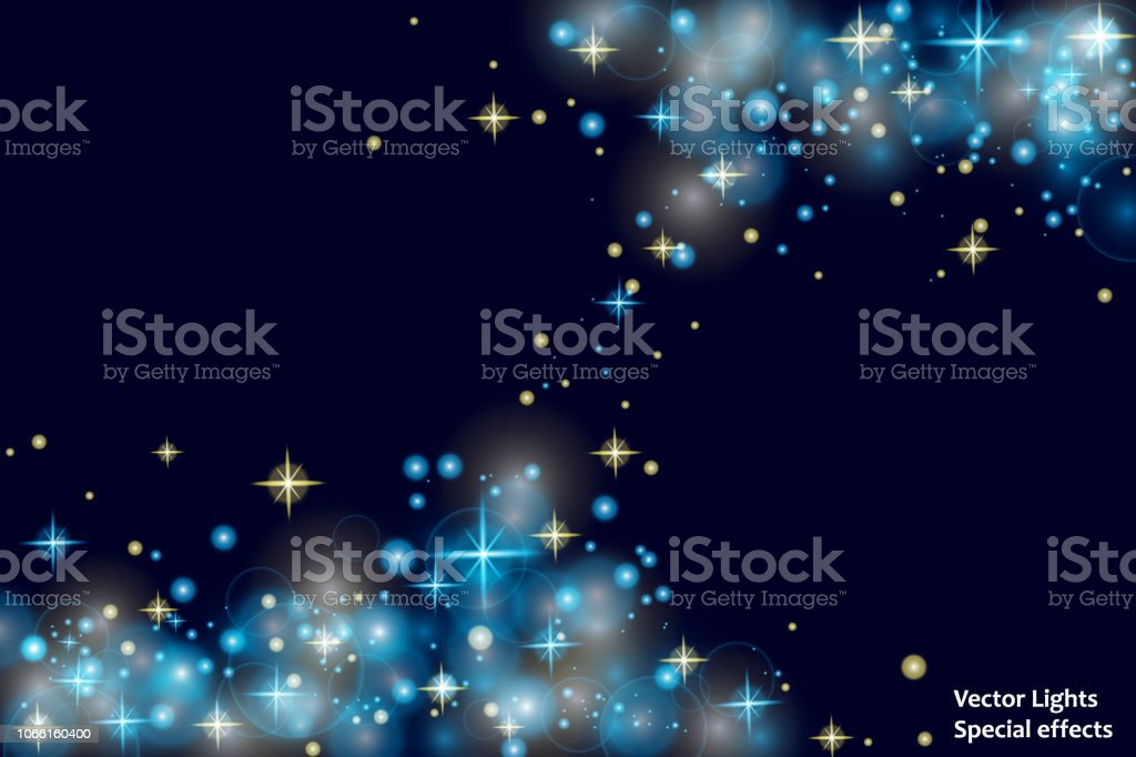 Blue Sparks And Stars Glitter Special Light Effect Sparkling Magic Dust  Particleslight Flare Special Effect With Rays Of Light And Magic Sparkles  Glow