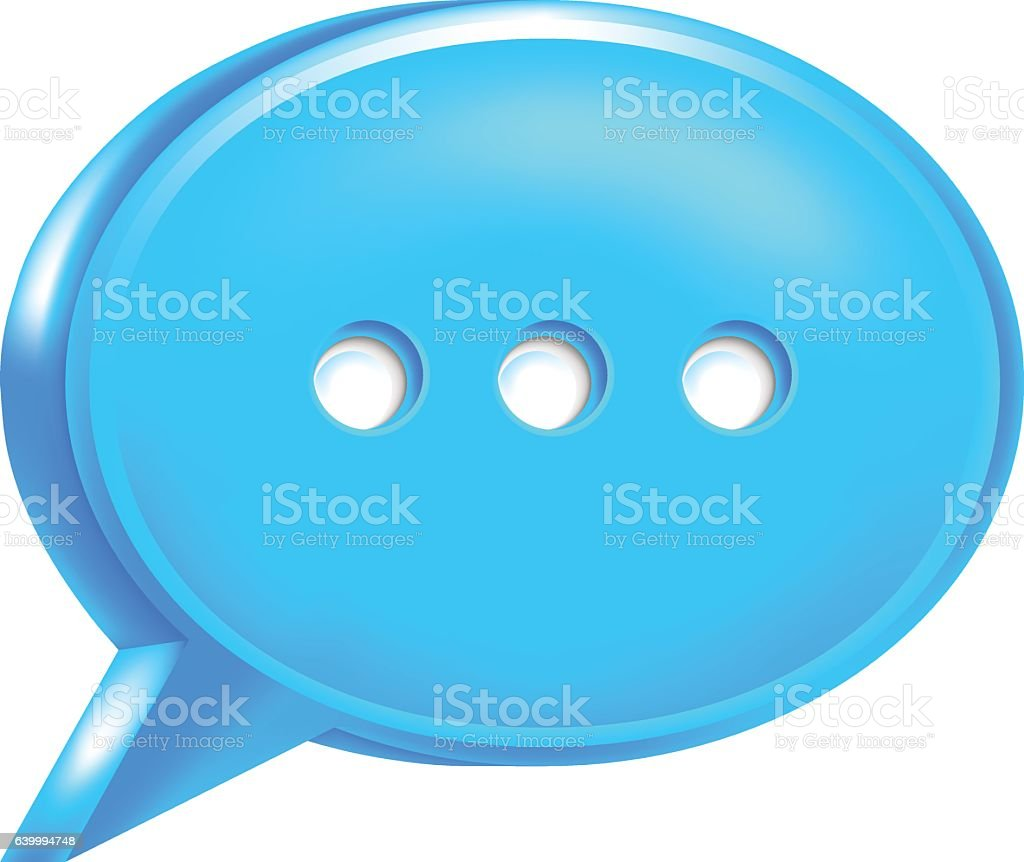 Blue Speech Bubble Icon Chat Room Sign vector art illustration