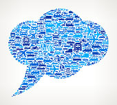 Blue Speech Bubble on royalty free vector Transportation interface icon Pattern. The pattern features vector interface icons on white Background: car, truck airplane, motorcycle, bus, taxi, helicopter, ship, van, bicycle and other transportation vehicles. interface icons can be used separately for app icons and internet buttons. Icon download includes vector art and jpg file.