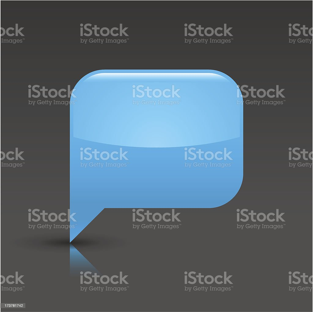 Blue speech bubble sign glossy icon rectangle pictogram gray background royalty-free stock vector art