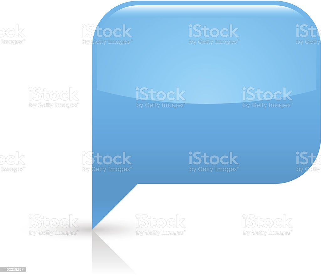 Blue speech bubble sign glossy icon rectangle pictogram white background royalty-free stock vector art