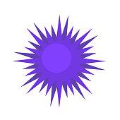 Blue spiky virus, molecule, bacterium cartoon model. Cartoon icon. Flat vector illustration, isolated on white background.