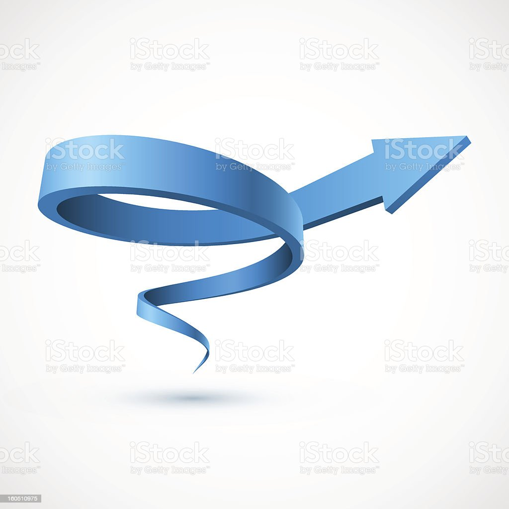 3D blue spiral arrow in white background vector art illustration