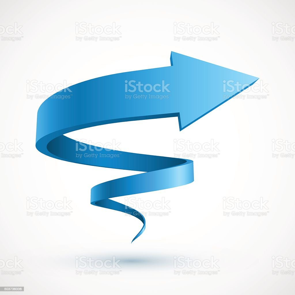 Blue spiral arrow vector art illustration