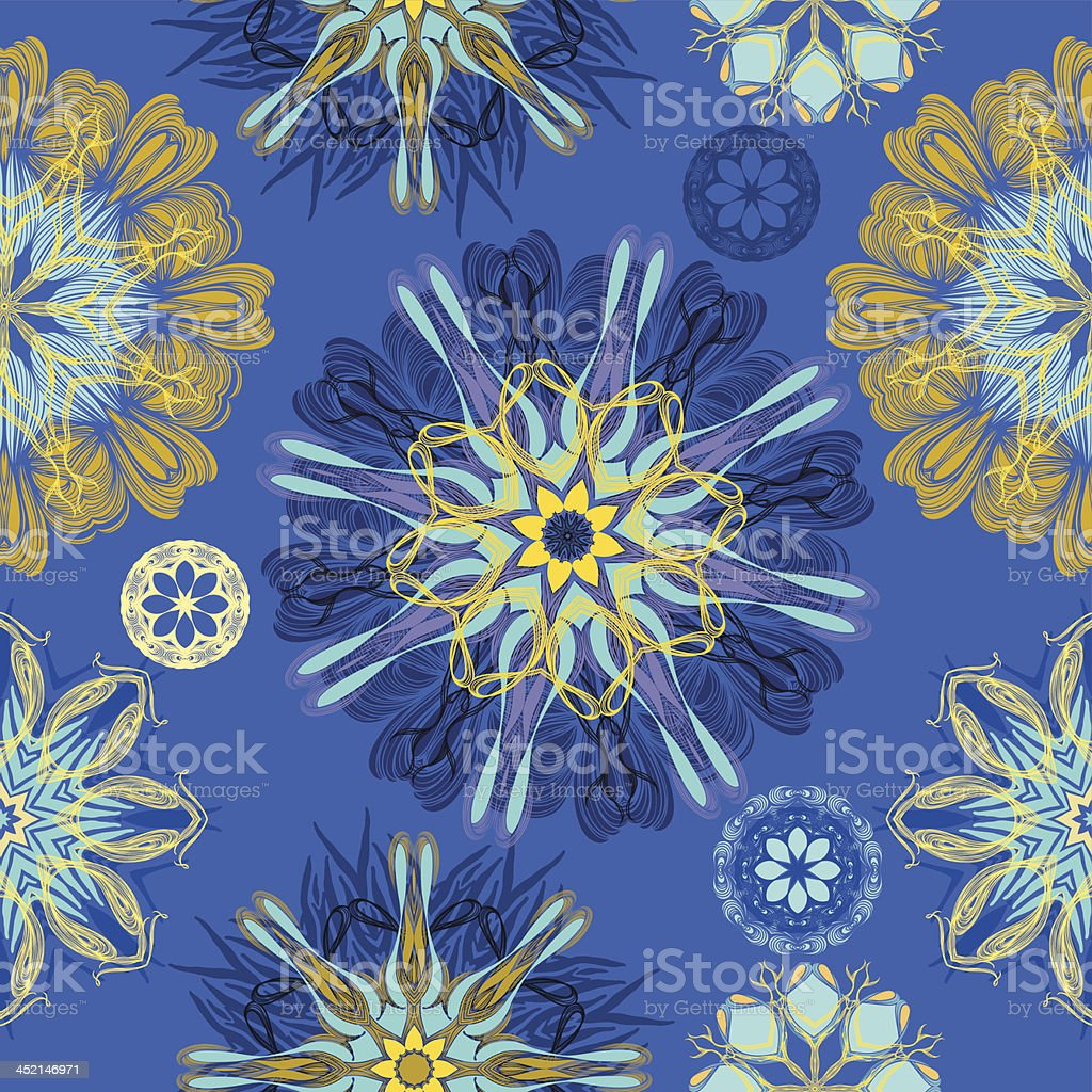 Blue splash mandala royalty-free stock vector art