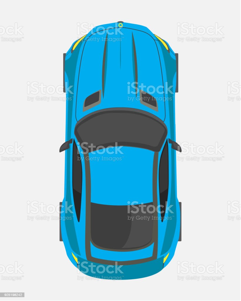 Blue Sport Car Top View In Flat Style Isolated On A White Background