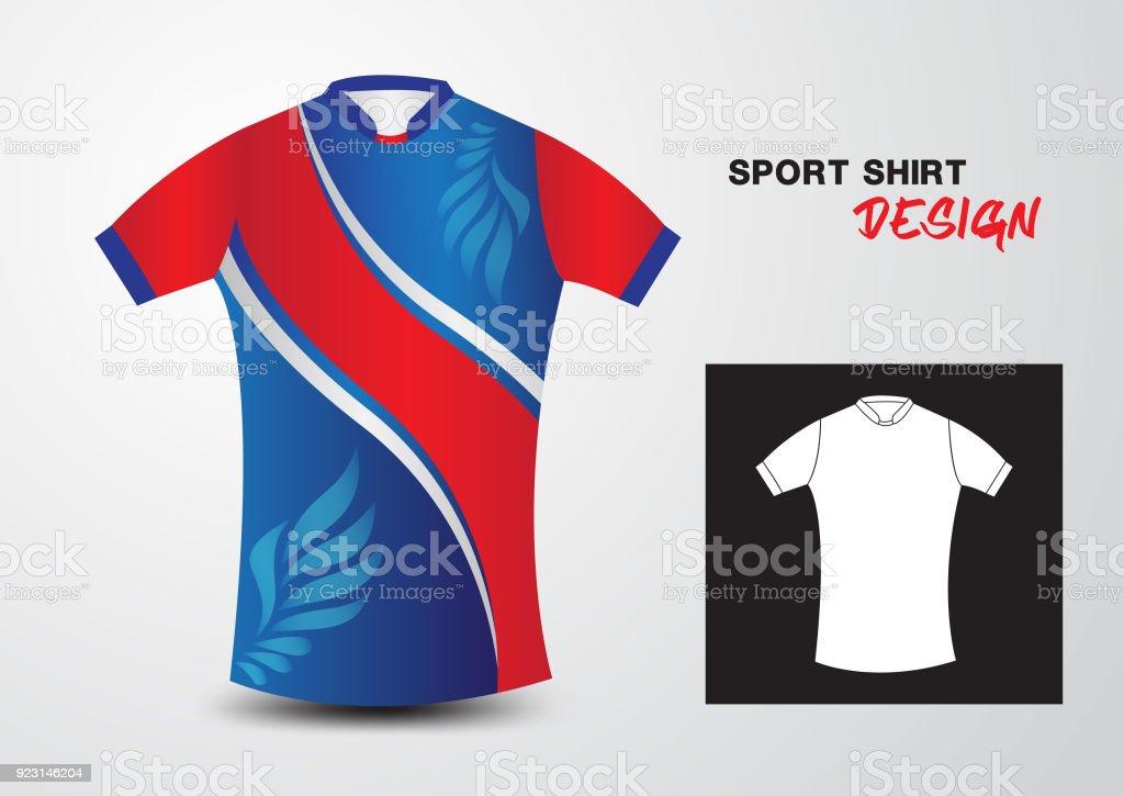 Blaue Sport Shirt Designvorlage Für Fußballtrikot Fußball Basketball ...