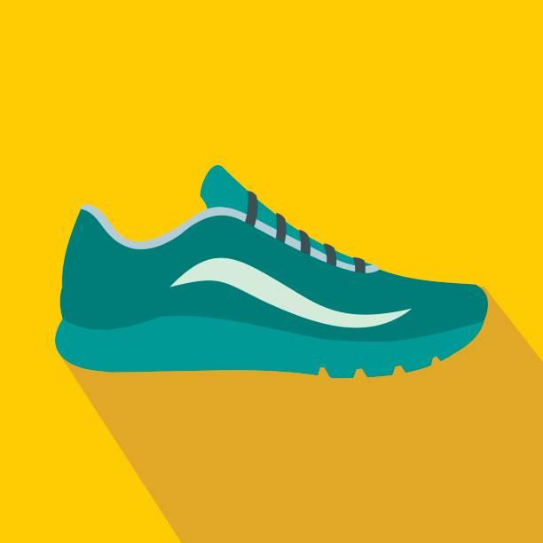 ikona niebieskich butów sportowych, płaski styl - but sportowy stock illustrations
