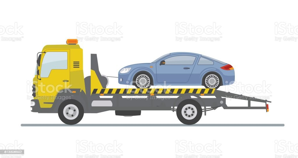 Blue sports car on tow truck, isolated on white background. vector art illustration