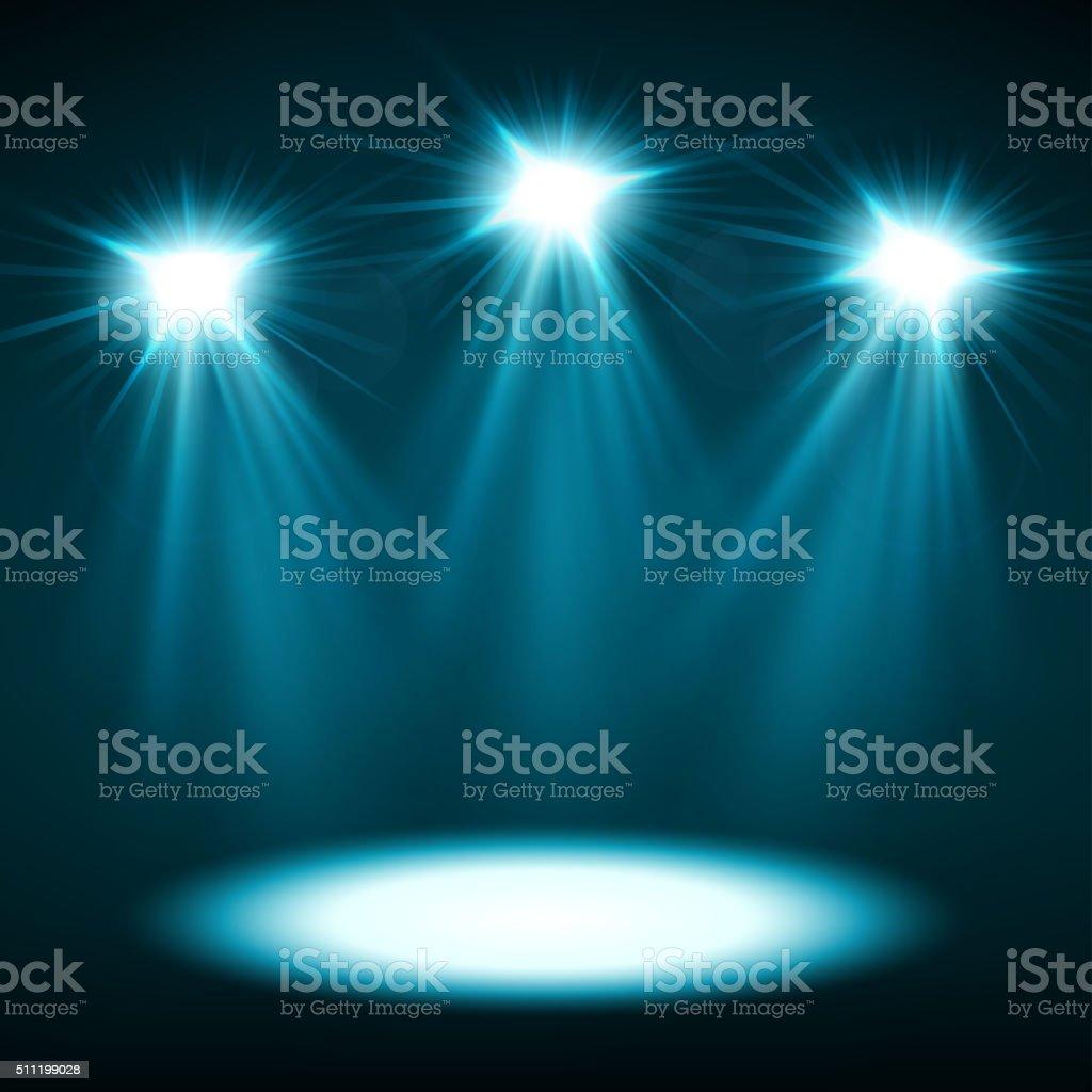 Blue spotlights shining vector art illustration