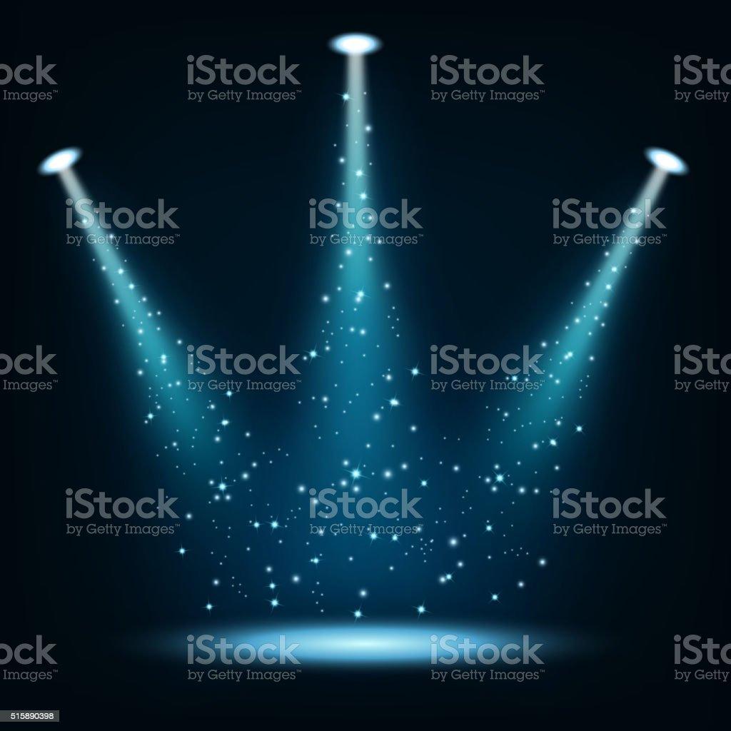 Blue spotlights shining with sprinkles vector art illustration