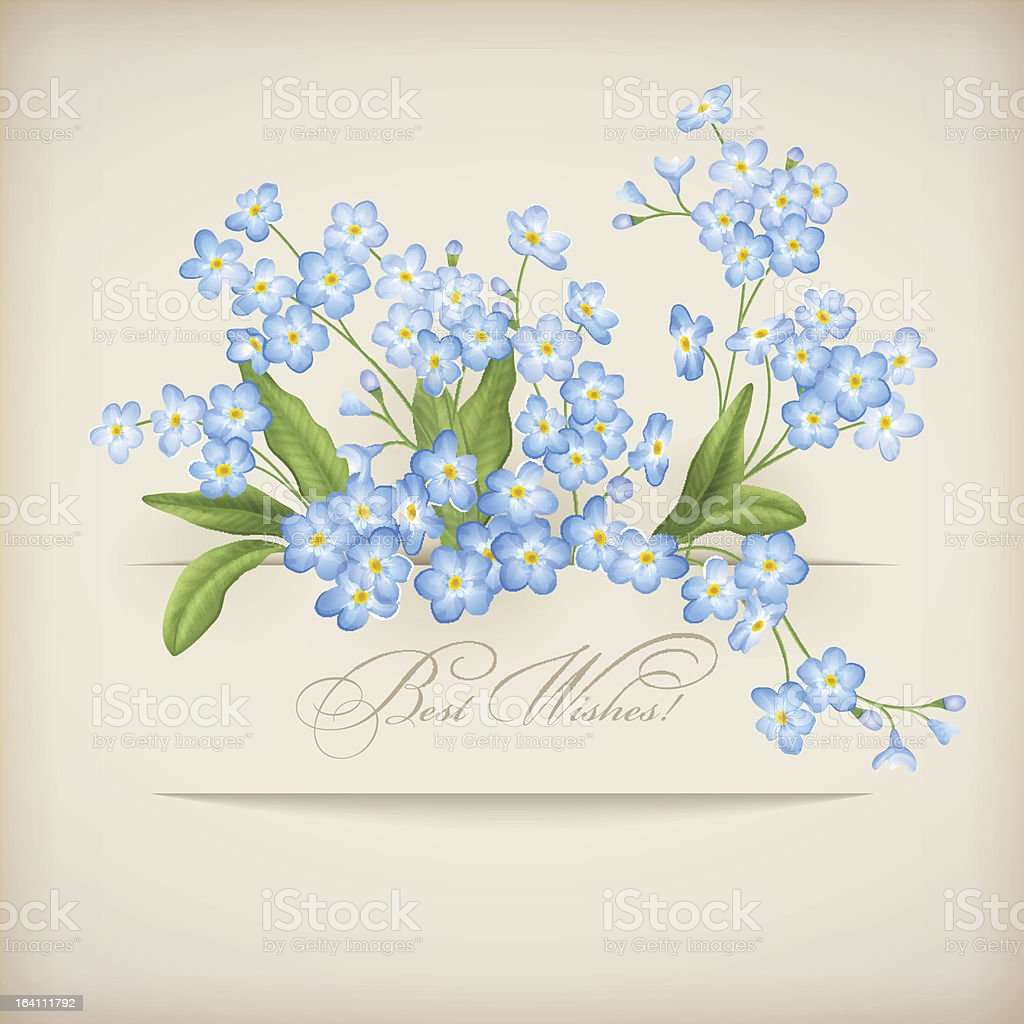 Blue Spring Flowers Forget-me-not Greeting Card royalty-free stock vector art
