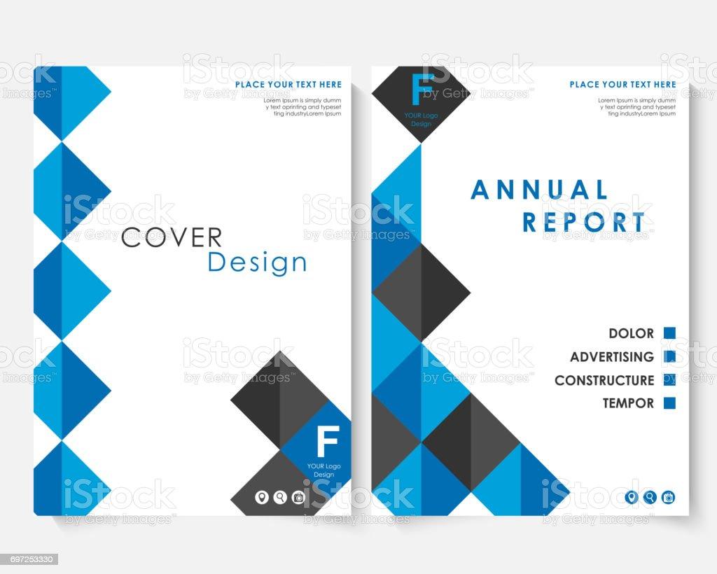 Azul Cuadrado Anual Informe Cubierta Diseño Plantilla Vector Cartera ...