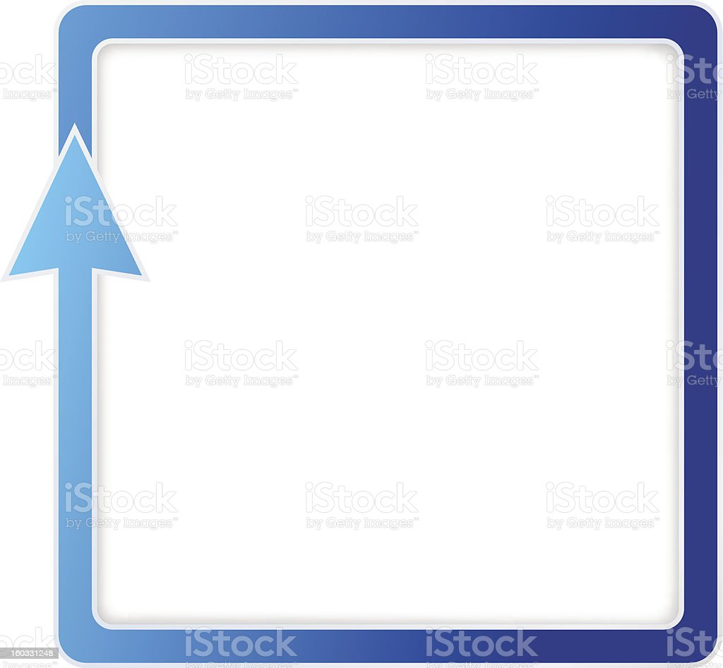 Blue square arrow (circle / cycle). Downloading / Repeating symbol. Vector sign royalty-free stock vector art