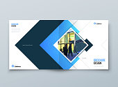 Blue Square Cover Background Design. Corporate Template for Business Annual Report, Catalog, Magazine or Flyer. Vector Background. Set - GB075.
