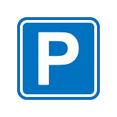 istock Blue square parking sign with a white capital letter P 1268257891