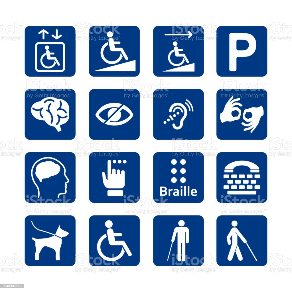 Blue square set of disability icons. Disabled icon set. Mental, physical, sensory, intellectual disability icons. - Royalty-free Acessibilidade arte vetorial
