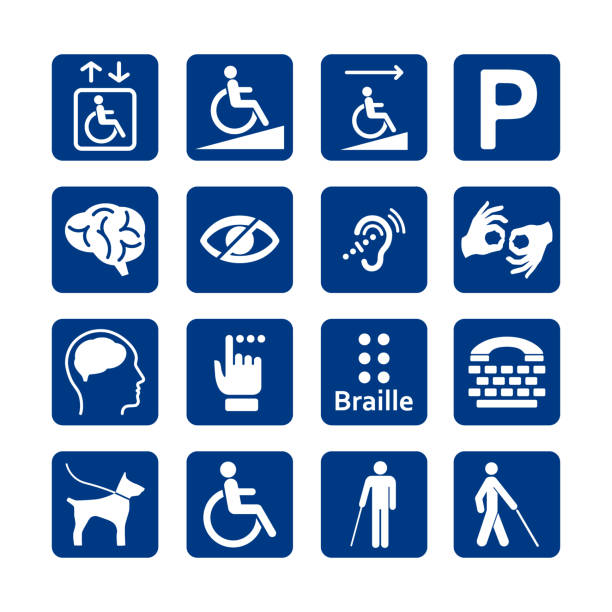 Blue square set of disability icons. Disabled icon set. Mental, physical, sensory, intellectual disability icons. vector art illustration