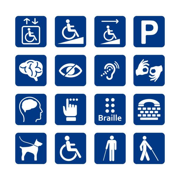 障害者アイコンの青い正方形セット。無効なアイコン セット。精神的、物理的、感覚的、知的障害アイコン。 - 障害者点のイラスト素材/クリップアート素材/マンガ素材/アイコン素材