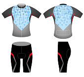 Blue square shape color on t-shirt,cycling vest vector design on a white background.Illustration is an eps10 file and contains transparency effects