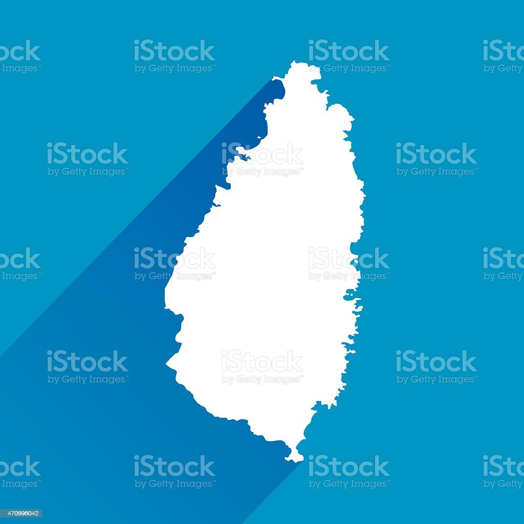 Blue St Lucia Map Icon vector art illustration