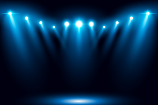 Blue stage arena lighting background with spotlight