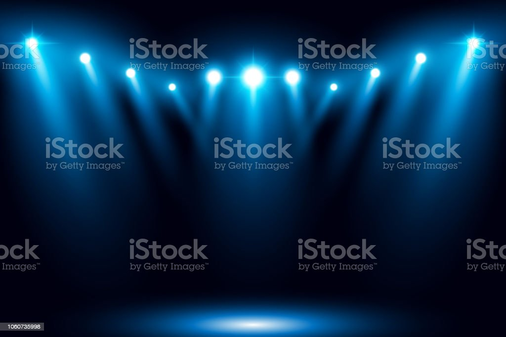 Blue stage arena lighting background with spotlight vector art illustration