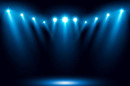 Blue Stage Arena Lighting Background With Spotlight - Stockowe grafiki wektorowe i więcej obrazów Abstrakcja