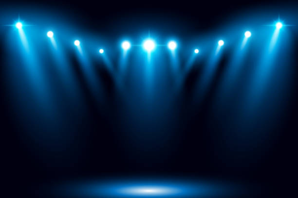 blue stage arena lighting background with spotlight - reflektor światło elektryczne stock illustrations