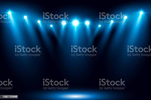 Blue Stage Arena Lighting Background With Spotlight - Arte vetorial de stock e mais imagens de Abstrato