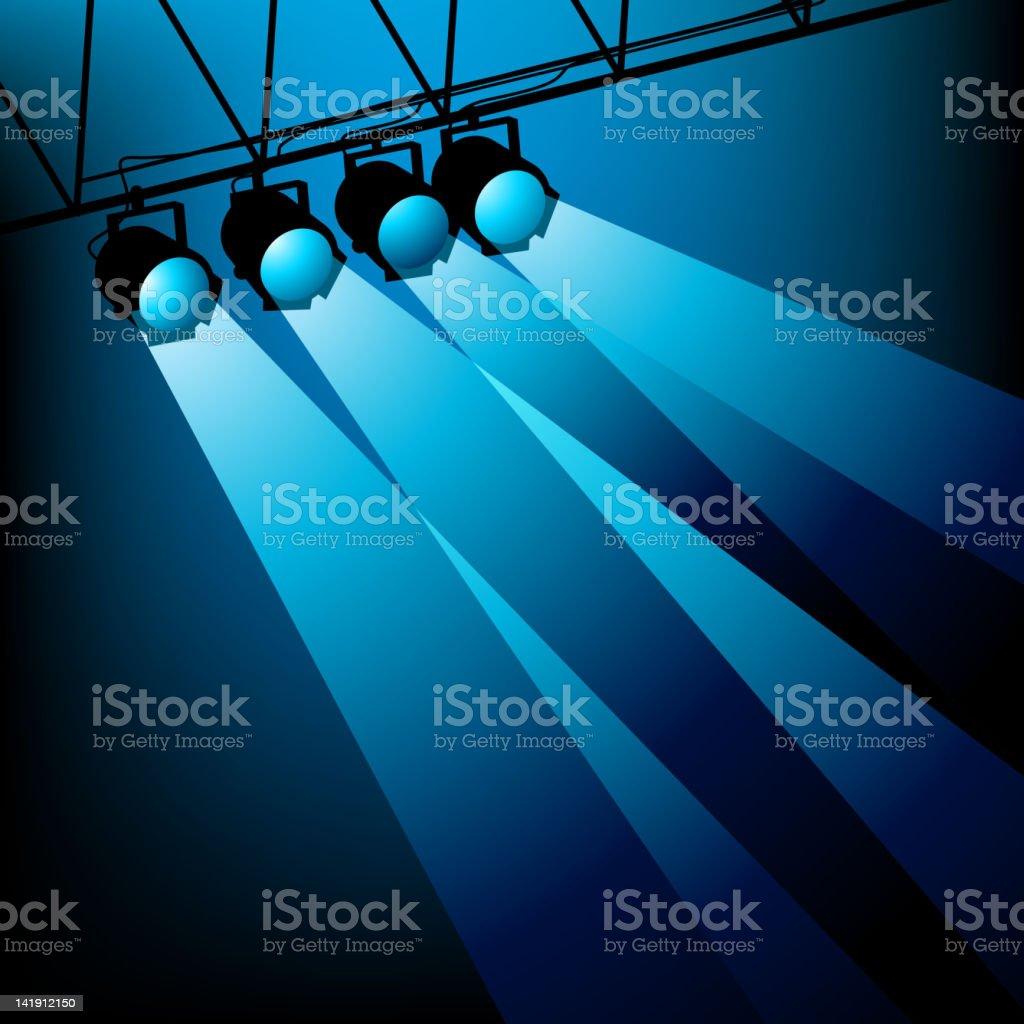 Blue Stage Lighting vector art illustration