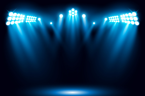 Blue stage performance lighting background with spotlight