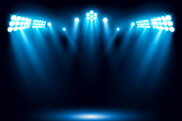 illustrazioni stock, clip art, cartoni animati e icone di tendenza di blue stage performance lighting background with spotlight - turno sportivo