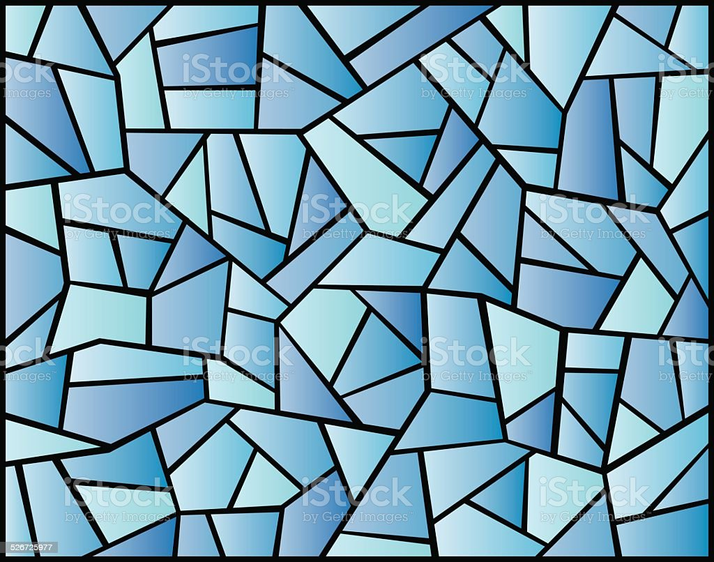 Blue Stained Glass Background vector art illustration