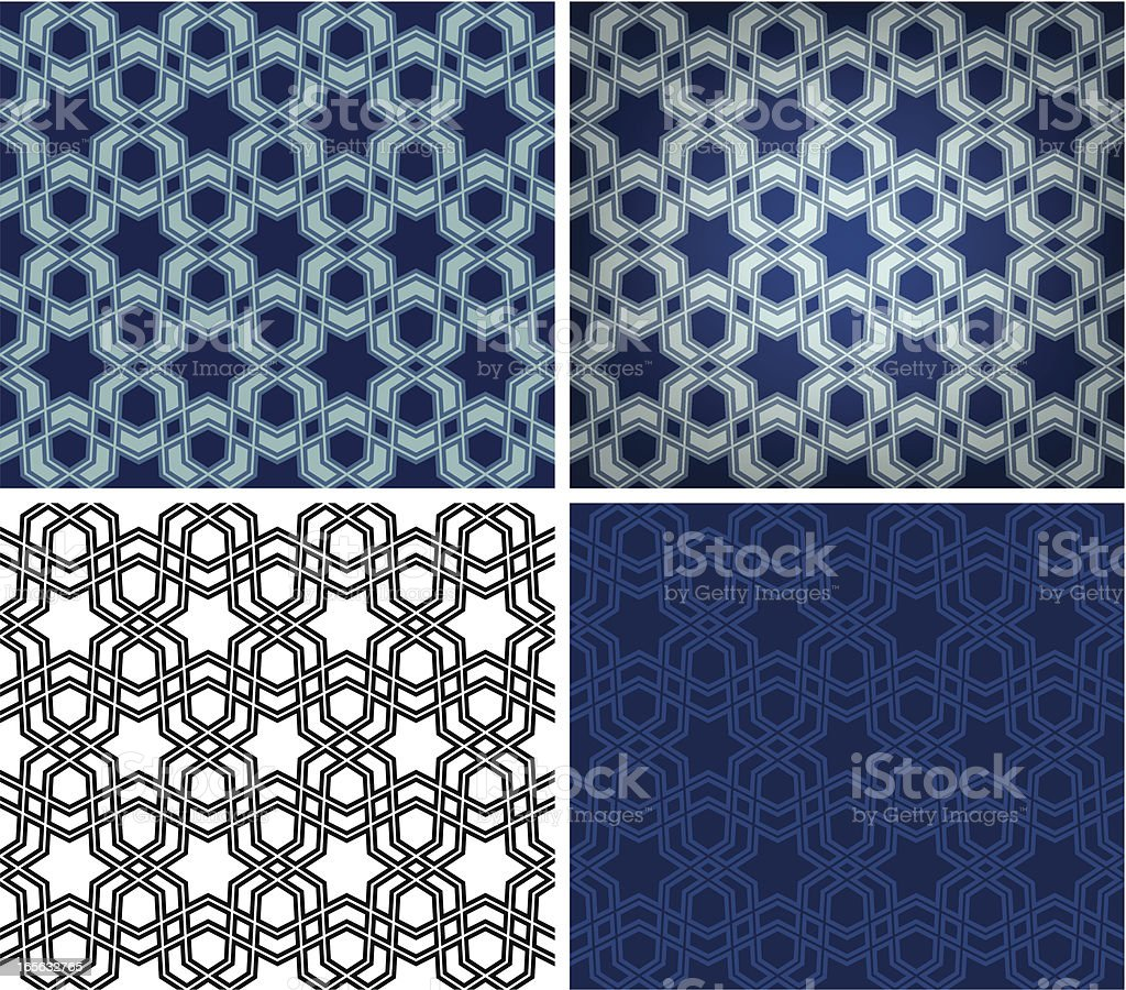 Blue star Islamic tile royalty-free stock vector art