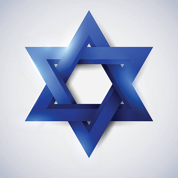 Blue star of David Blue star of David, Magen David, vector religious symbol star of david stock illustrations