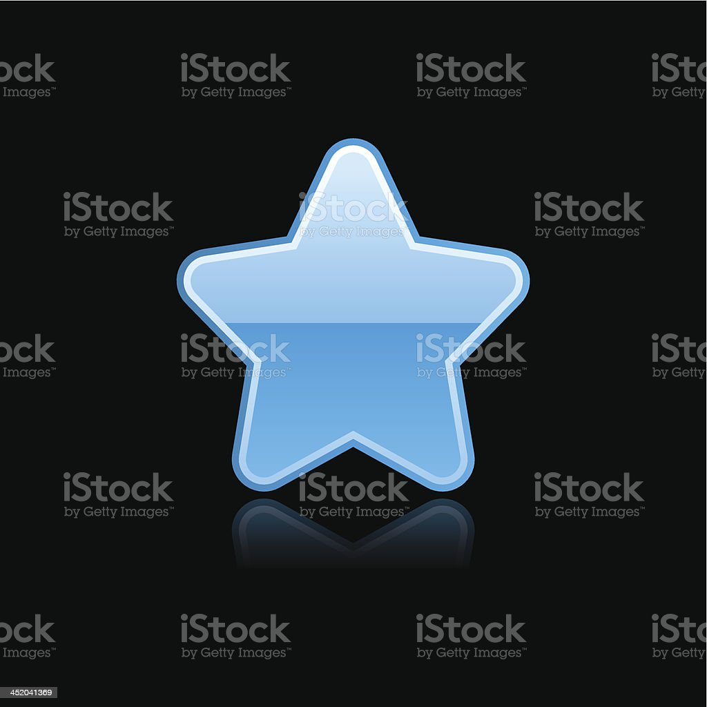 Blue star sign glossy icon chrome pictogram web internet button royalty-free stock vector art