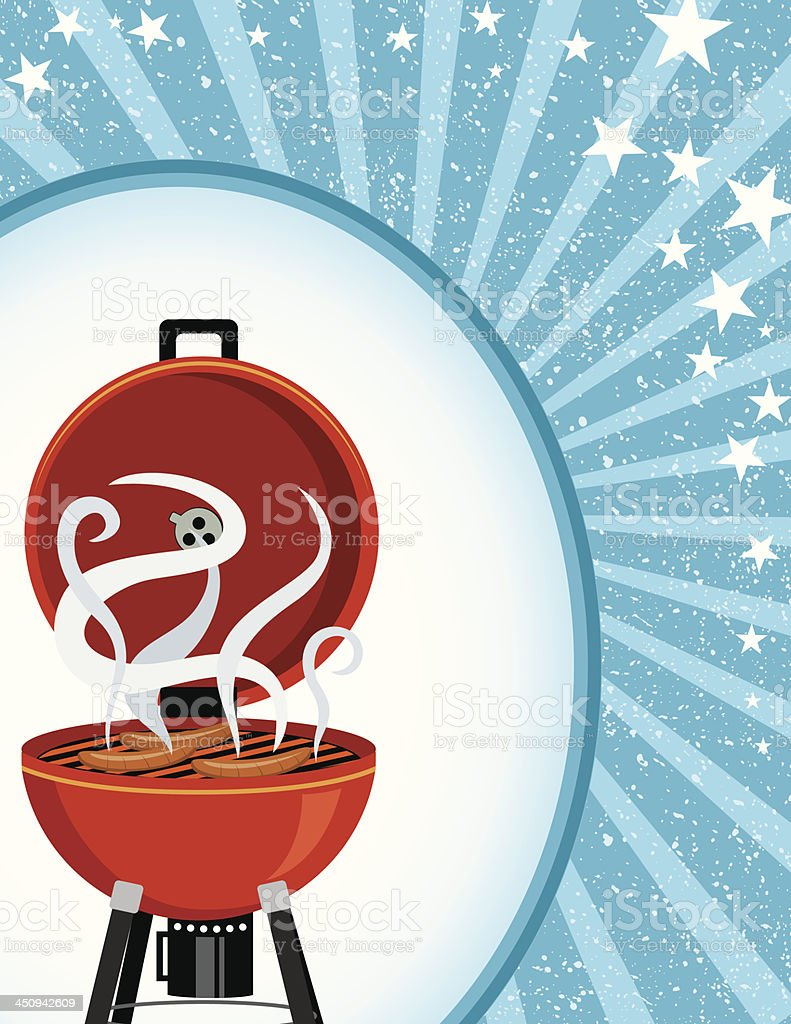 Blue Starburst BBQ Template royalty-free stock vector art