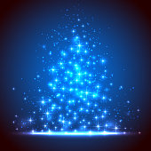 Blue background with shining stars and blurry lights, illustration.