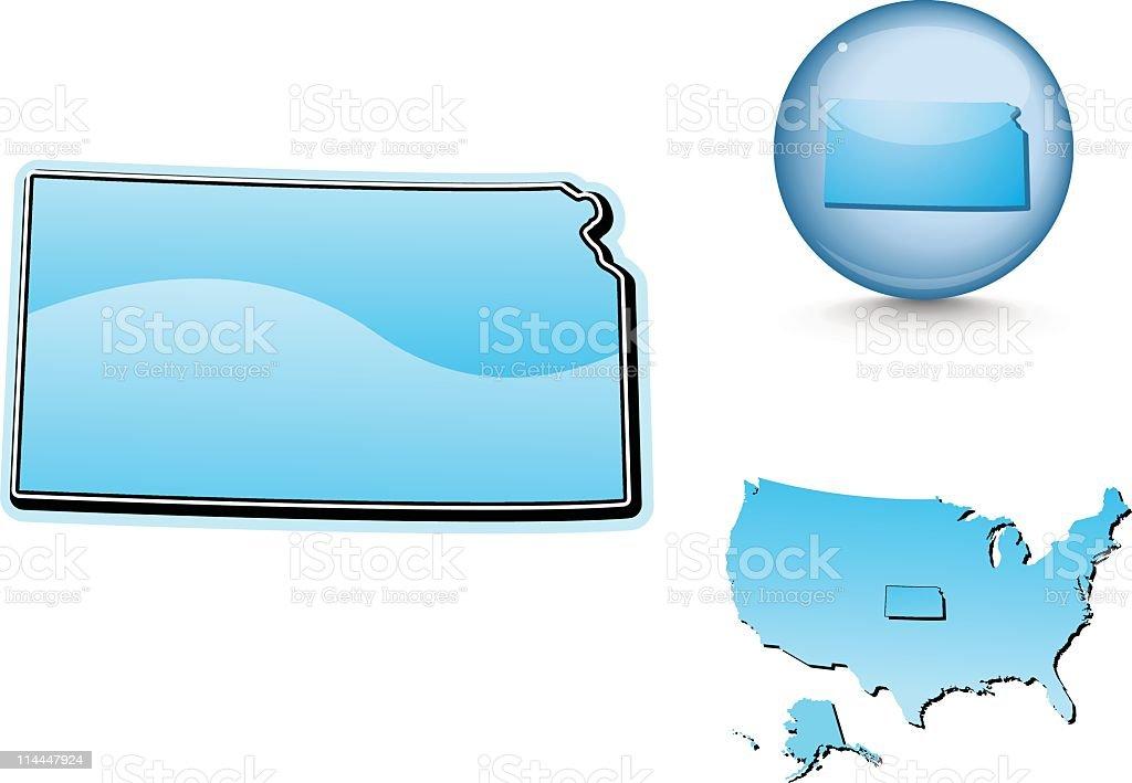 Blue state series - Kansas royalty-free stock vector art