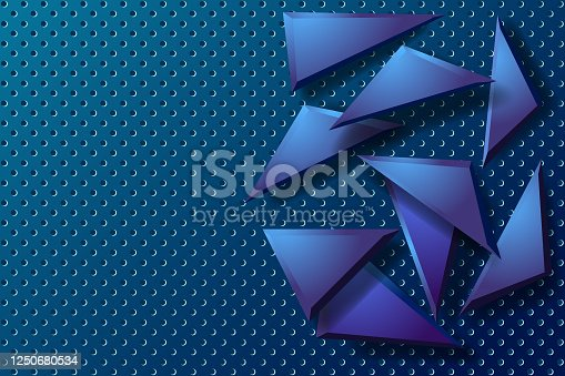 istock Blue steel background with geometric shapes 1250680534