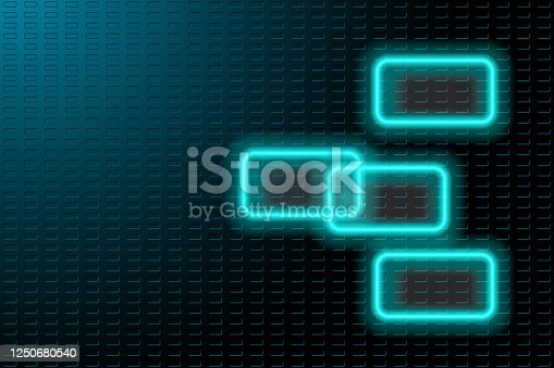 istock Blue steel background with neon frames 1250680540