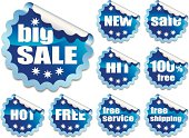Collection of blue stickers on white background
