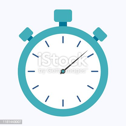 Blue stopwatch flat style isolated on blue background