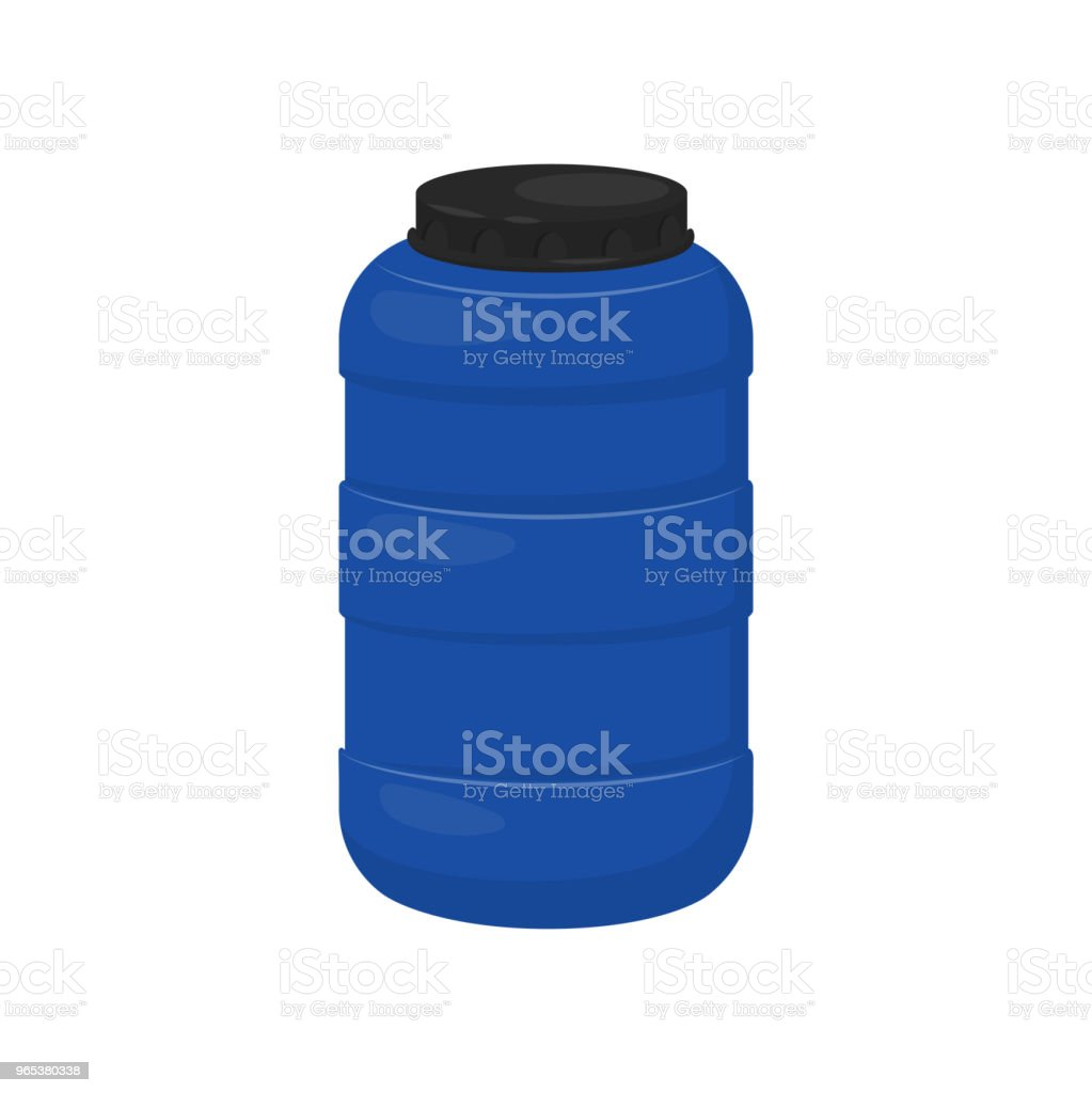 Blue storage barrel with black lid. Plastic container for water. Flat vector design for advertising poster or flyer royalty-free blue storage barrel with black lid plastic container for water flat vector design for advertising poster or flyer stock vector art & more images of black color