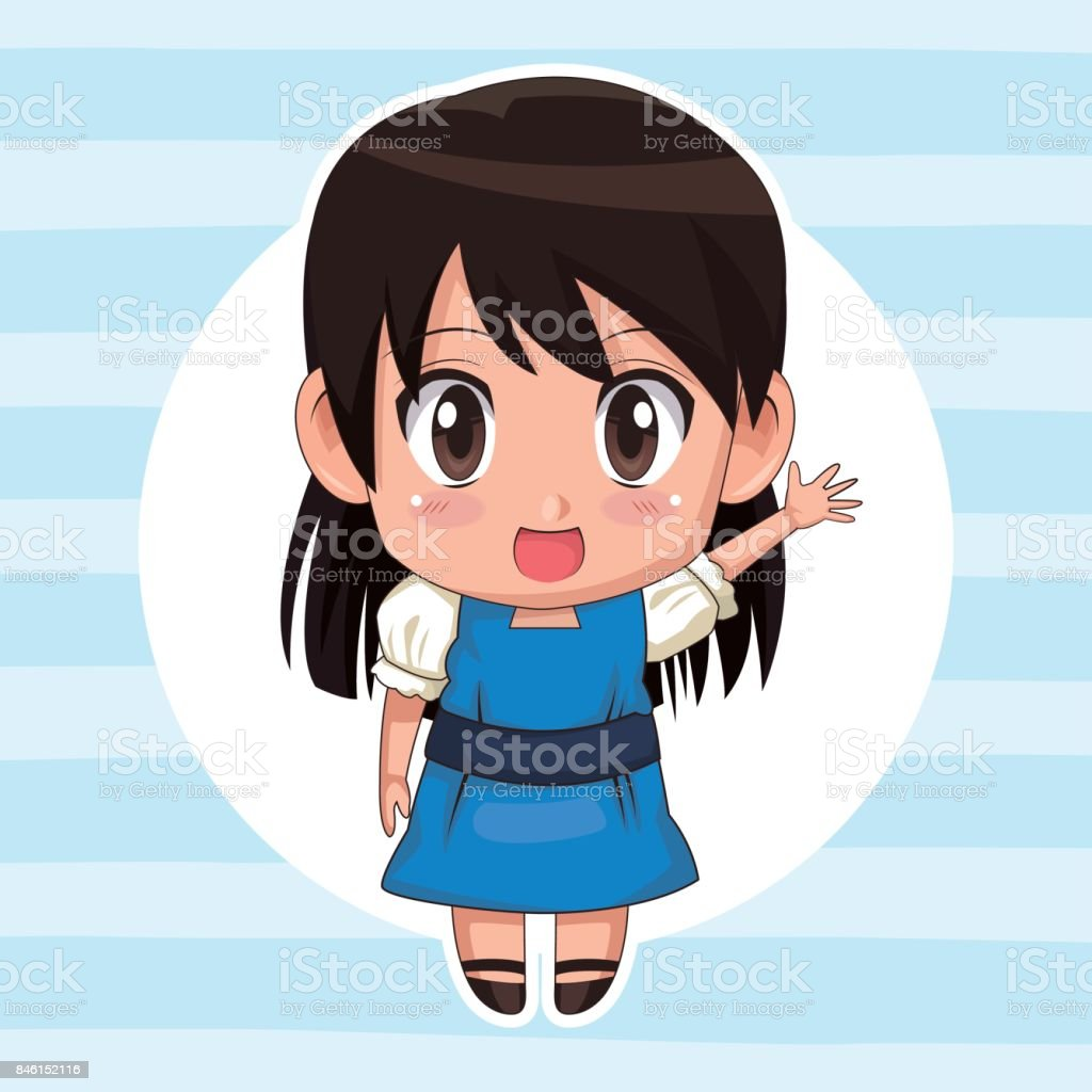Blue Striped Color Background With Circular Frame And Cute Anime Girl Expression Greeting Straight Hair