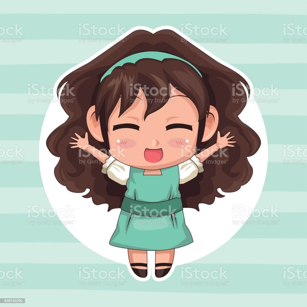 Blue Striped Color Background With Circular Frame And Cute Anime Girl Wink Expression Open Arms