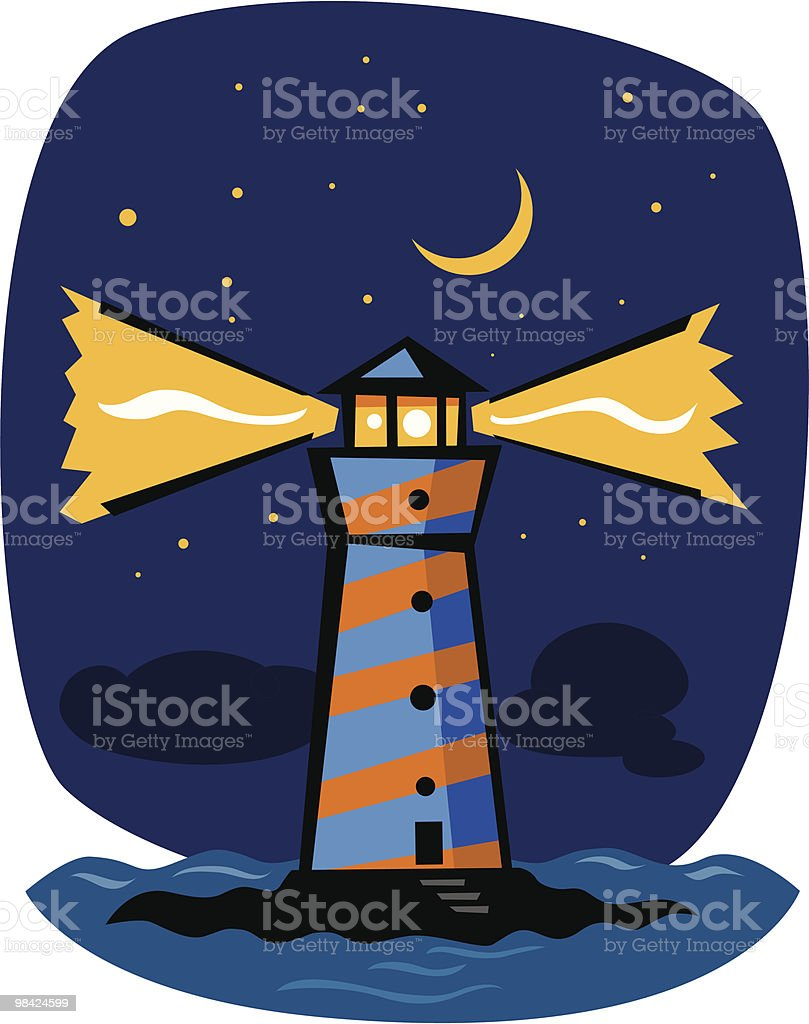 Blue striped lighthouse at night royalty-free blue striped lighthouse at night stock vector art & more images of beach