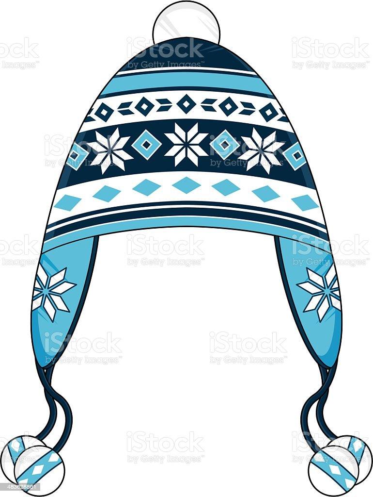 Blue Striped Wooly Bobble Hat vector art illustration