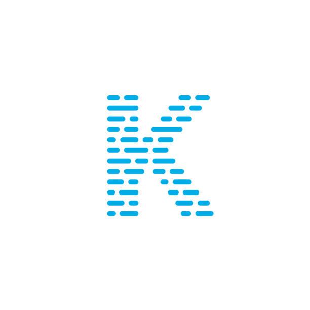 Blue Stripes Vector Logo Letter K Striped Vector Logo Letter K. K Letter Design Vector k logo stock illustrations